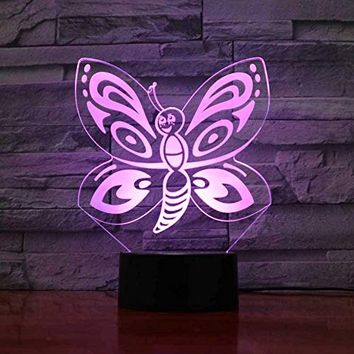 3D Led Butterfly Modeling Night Light Usb Touch Cartoon Insects Lámpara De Mesa 7 Colores Que Cambian La Decoración Del Hogar Iluminación Para Regalos Infantiles