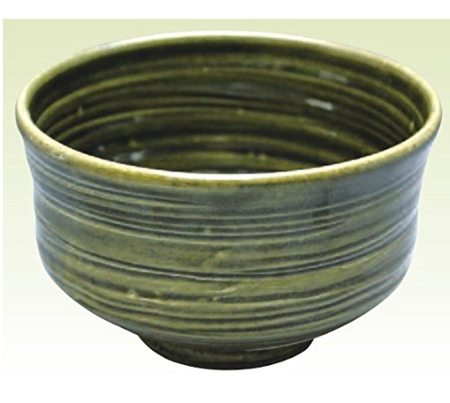 捕虜貫通アコード常滑焼 焜清作 抹茶茶碗織部径13×高さ8cm