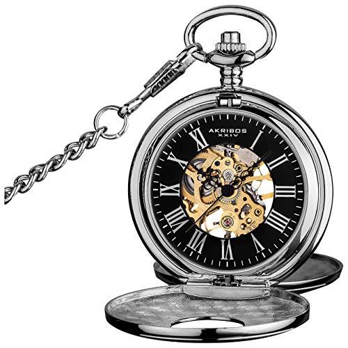 Akribos XXIV Reloj de bolsillo mecánico 'Bravura' – Movimiento mecánico de cuerda manual en una esfera esqueleto viene con cubierta y cadena – AK609