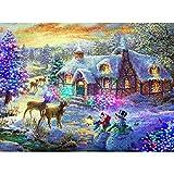 SHHSGZ Navidad 1000 Piezas Rompecabezas de Madera Juegos para Adultos niños Juguete Puzzles para Arte Decoración del Hogar Regalo