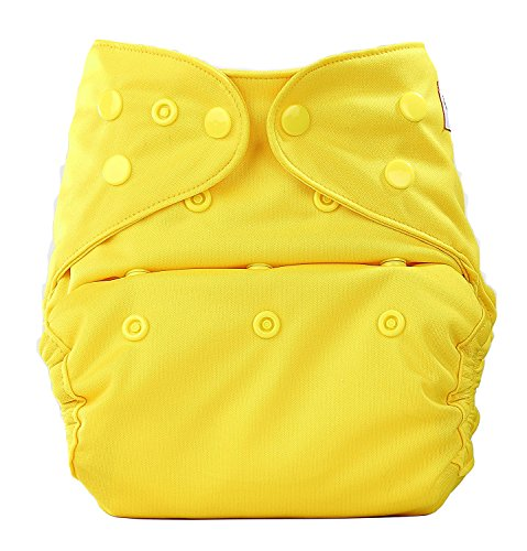 Bumberry Baby Reusable Diaper Cover Adjustable Size with One Natural Bamboo Insert(Yellow, 0 to 12 Months)