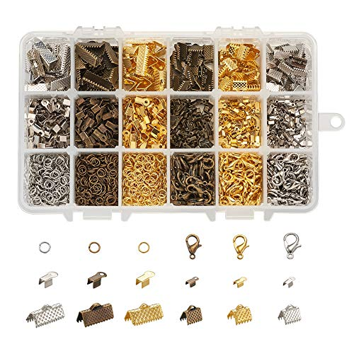 Pandahall 1842pcs/box Jewelry Making Kit with Ribbon Ends Fold Over Crimp Cord and Lobster Claw Clasps Open Jump Rings