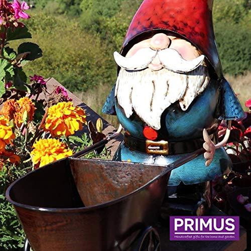 Primus Metal Gnome met kruiwagen van metaal, handbeschilderd, 40 x 13 x 30 cm