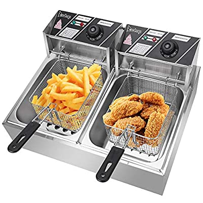 Deep Fryer with Basket EH82 5000W MAX 110V 12.7QT/12L Stainless Steel Double Cylinder Electric Fryer with Lid Cover Indicator Light Adjustable Temperature Cooking French Fries Onion Rings Egg Rolls Fried Chicken US Plug