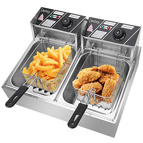 Deep Fryer with Basket,5000W 110V 12.7QT Stainless Steel Double Cylinder Electric Fryer with Lid Cover Indicator Light Adjustable Temperature Cooking French Fries Onion Rings Egg Rolls Fried Chicken