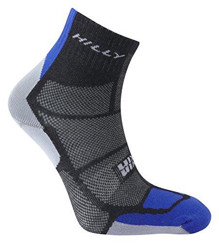 Hilly Men's Twin Skin Anklet Socks, Black/Electric Blue/Grey, Large