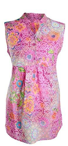 AdoniaMode Damen Tunika-Bluse Top ärmellos ohne Arm India Style Reine Baumwolle Figur kaschierend Orange Pink Gr.44