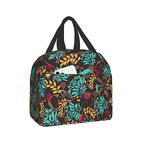 Colorful Floral 15 Lunch Box Bento Bag, Insulated Lunch Boxes Waterproof Lunch Bag, Reusable Lunch Tote With Front Pocket For Office Picnic Hiking Beach