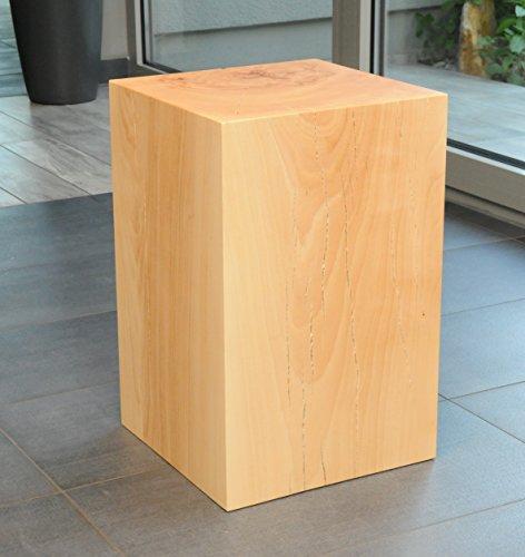 Design-Sitzblock Holzklotz Sitzhocker Sitzwürfel Cube Hocker Massivholz Kernbuche Couchtisch Beistelltisch Holz Blumenständer Echtholz (ca. 30 x 30 x 50cm)