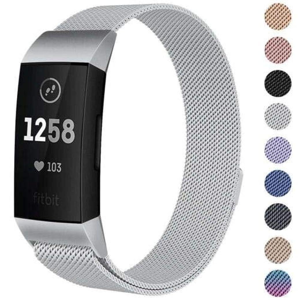 縮れた抑圧一般ACHICOO 時計バンド 時計ストラップ Fitbit Charge 3用 交換 ミラノバンド ステンレスマグネット 銀 S