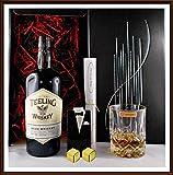 Geschenk Teeling Irischer Whiskey Small Batch Rum Cask Finish + Kristallglas + 2 Original Edelstahl...