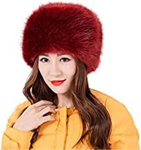 LDFWAY Womens Faux Fur hat Russian Cossack Warm Cap with Fluffy Pompom Ball
