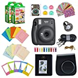 Fujifilm Instax Mini 11 Instant Camera (Charcoal Gray) Bundle with Case, 2X Fuji Instax Mini Instant Film Twin Pack - 40 Sheets (White), Color Filters, Stickers, Frames, Photo Album and Accessory Kit