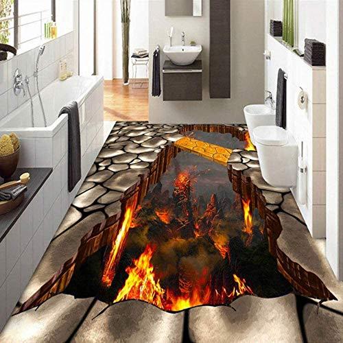 3D floor painting custom floor covering mural wallpaper lava stone magma 3D stereoscopic floor sticker painting PVC self-adhesive waterproof 90 * 120cm