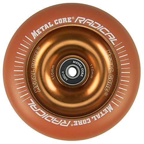 Metal Core Rueda Radical Monocromática para Scooter Freestyle, Diámetro 110 mm (Naranja)