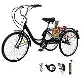 ZEHNHASE Triciclo para Adultos con cestas, 24 Pulgadas Bicicleta de Triciclo con Marco de aleación(DE Valores) - Negro