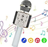 OLEO Micrófono Inalambrico Karaoke, Micrófono Portátil Bluetooth, Micrófono Karaoke con Altavoz para Cantar, entradas Auxiliar y USB