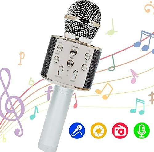 OLEO Micrófono Inalámbrico karaoke, 4 en 1 Micrófono Portátil Bluetooth Micrófono Karaoke con altavoz para Niños Canta Partido de Musica Compatible con PC/iPad/iPhone/Smartphone USB y Tarjeta Micro SD