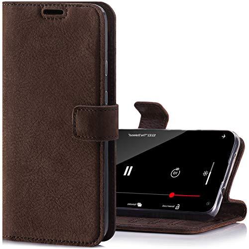 SURAZO Handyhülle für Pixel 4a 5G – Premium Echtleder Hülle Schutzhülle mit [Standfunktion, Kartenfach, RFID Schutz] – Klapphülle Wallet case Handmade für Google Pixel 4a 5G (Braun)