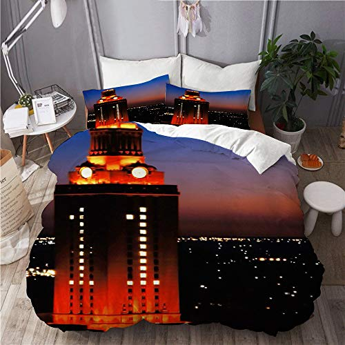 BEITUOLA bedding - Duvet Cover Set,university of texas tower night burnt orange sunset national champions austin texas,Microfibre Duvet Cover Set 135 X 200cm with 2 Pillowcase 50 X 80cm