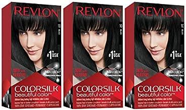 Revlon Colorsilk Beautiful Color, Permanent Hair Dye with Keratin, 100% Gray Coverage, Ammonia Free, 10 Black (Pack of 3)