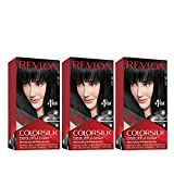 REVLON Colorsilk Beautiful Color Permanent Hair Color with 3D Gel Technology & Keratin, 100% Gray Coverage Hair Dye, 10 Black, 4.4 Ounce (Pack of 3)