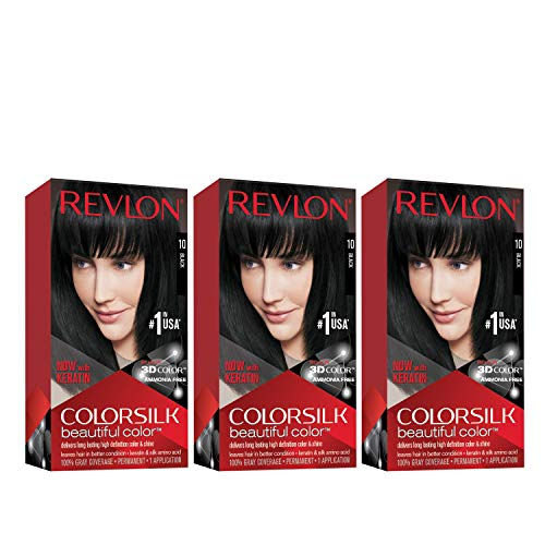 Revlon Colorsilk Beautiful Color Permanent Hair Color with 3D Gel Technology & Keratin, 100% Gray Coverage Hair Dye, 10 Black, 4.4 oz (Pack of 3)