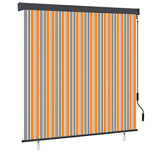 FAMIROSA Estor Enrollable de Exterior Amarillo y Azul 170x250 cm