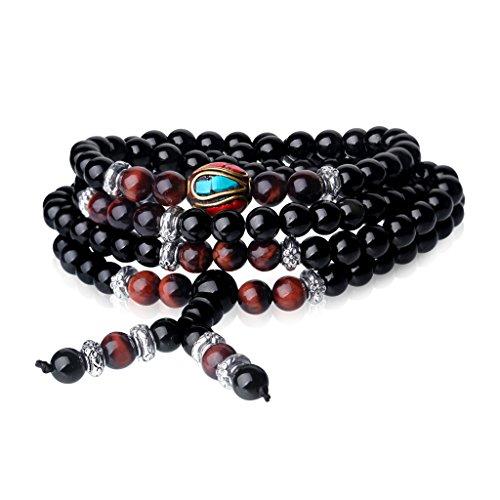 coai COAI108 Obsidian und Rotes Tigerauge Buddhistisches Wickelarmband Halskette für Damen/Herren