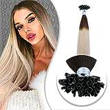 BECUS 50 Mèches Brun Foncé à Blond Cendré Extensions Cheveux Keratine a Chaud - Pre Bonded Nail U Tip Remy Human Hair Extensions 40cm 40g
