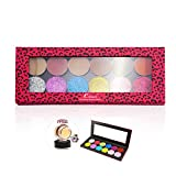 Coosei 12Colors Eyeshadow Palette Hot Pink Leopard Magnetic Makeup Palette Set Free Eyeprimer and Glitter Matte 36mm Round Shadows (mHPS1)