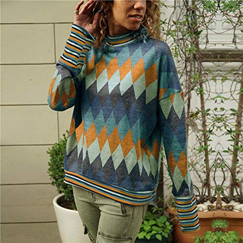 NSSYL damestops, geometrische druk, halve kraag, hoge blouse, lange mouwen, tops, T-shirts