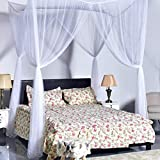 TOYDIRECT 4 Corner Post Bed Canopy Mosquito Net , Quick and Easy Installation (White , 7x7 ft)
