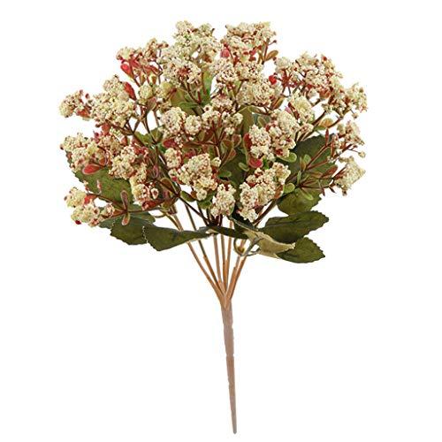 Sharplace Bouquet De Fleurs De Mousse De Soie De Chrysanthème Artificiel Décoration De Mariage - Crémeux