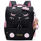 Girls Backpacks, Waterproof Cute Backpack for Kids Toddler Girl Preschool Bookbags Elementary School Bags (Small, A-Black)