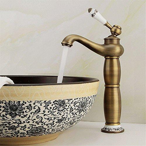 Grifo mezclador para lavabo, WATER TOWER moderno con cuerpo de llave de latón, grifo de cobre antiguo, color azul y blanco de porcelana que eleva un solo agujero para el lavabo encima de la encimera grifo caliente y fría