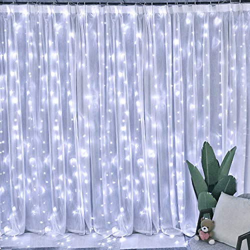 Chinety Window Curtain Lights 300 LED Upgraded Bigger Bulbs USB Plug in Fairy Lights 8 Modes Remote Control Curtain String Lights Waterproof LED Fairy Lights for Party Bedroom Home Decor (Cool White)