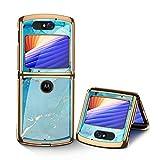 MingMing Hülle für Motorola Razr 5G Hardcase Stoßfest Schutzhülle PC + 9H Gehärtete Glasabdeckung, Superdünne handyhülle für Motorola Razr 5G, Blauer See
