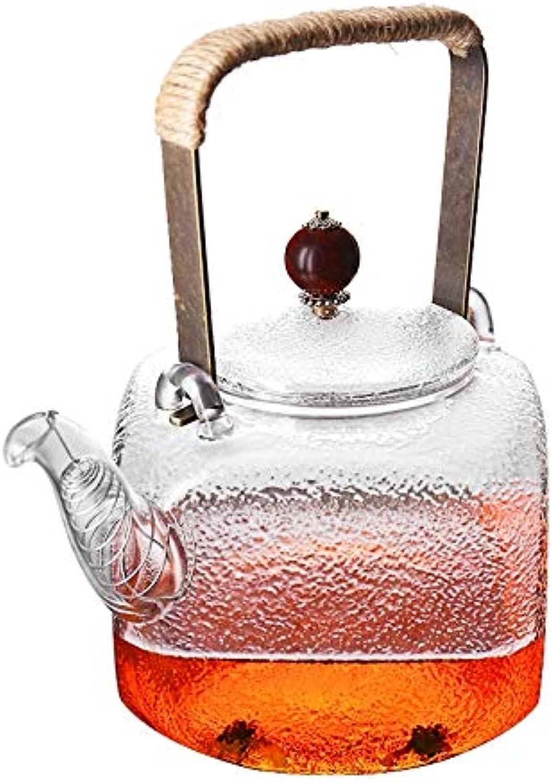 SOOY Théière en Verre de avec infuseur et Couvercle en Acier Inoxydable, théière à thé à Fleurs en Verre en Borsilicate