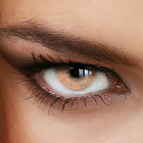 Farbige Jahres-Kontaktlinsen Naturally SWEET HAZEL - OHNE Stärke - HELLBRAUN - von LUXDELUX® - (+/- 0.00 DPT)