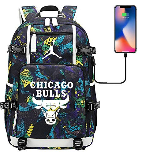 DDDWWW Basketball Player Backpack Bulls Trapeze Jordan Sports Rucksack Multi-Function Fan Bag Hiking Backpack L (#04)