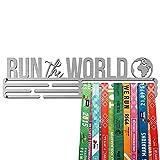 United Medals Run The World Medaille Kleiderbügel | Edelstahl Medaillenhalter | 43cm / 48 Medaillen