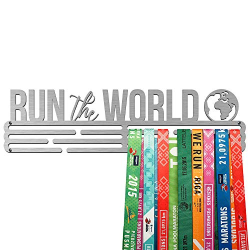 United Medals Run The World Medaille Kleiderbügel   Edelstahl Medaillenhalter   43cm / 48 Medaillen
