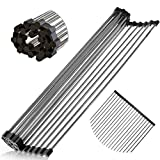 Belgoff Roll-Up Dish Drying Rack 21'(L) x 16'(W) - Foldable Multipurpose Heat Resistant Large Stainless Steel Kitchen Rollup Dish Drainer Over Sink Mat - Silicone Coated Rims