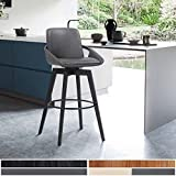 "Armen Living Baylor Swivel Wood Bar or Counter Height Stool in Faux Leather, Gray/Black, 26"" Counter Height"