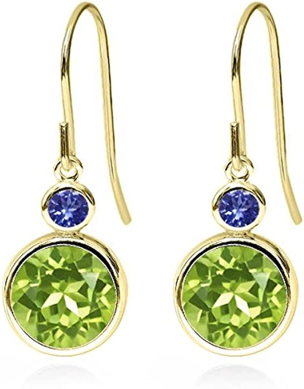 4.24 Ct Round Green Peridot bluee Tanzanite 14K Yellow gold Earrings