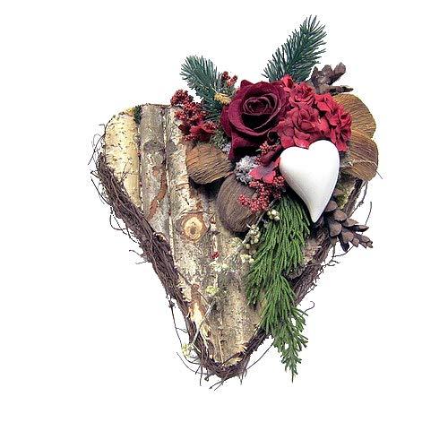 Small-Preis Grabgesteck - Grabschmuck - Grabaufleger Herz mit roten Rosen 074
