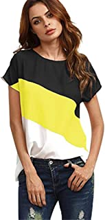 LODDD Women's Color Block Chiffon Short Sleeve T-Shirt Tops Summer Casual O-Neck Loose Blouse Shirts Tunic Tops