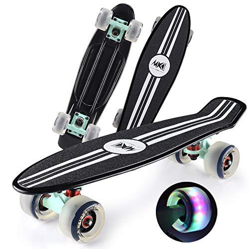 Skateboards 57cm Komplettes Mini Cruiser Retro, LED Light up Wheels mit All-in-One Skate T-Tool für Einsteiger Longboard