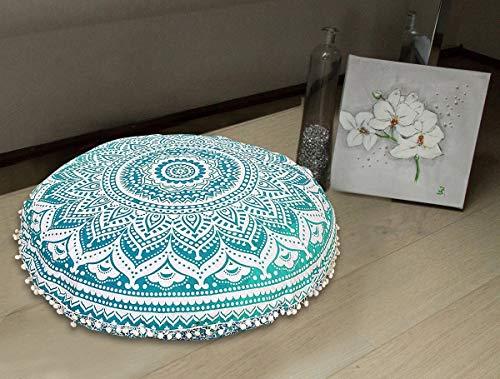 Radhykrishnafashions Indian 32' grande Hippie Mandala funda de cojín para el suelo, redondo bohemio decoración de yoga funda de cojín, algodón, Verde Ombra, 32' INCHES